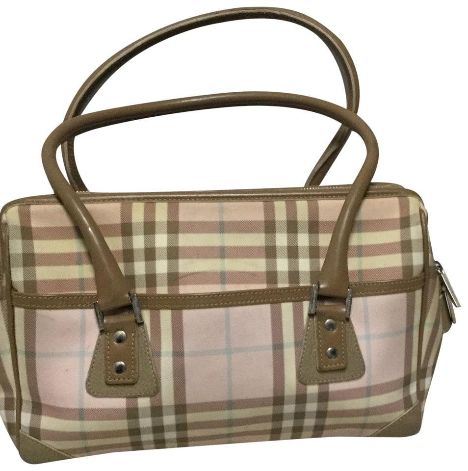 faaa1fb526 Burberry Nova Check A60 Pink Beige White Leather and Canvas Hobo Bag ...