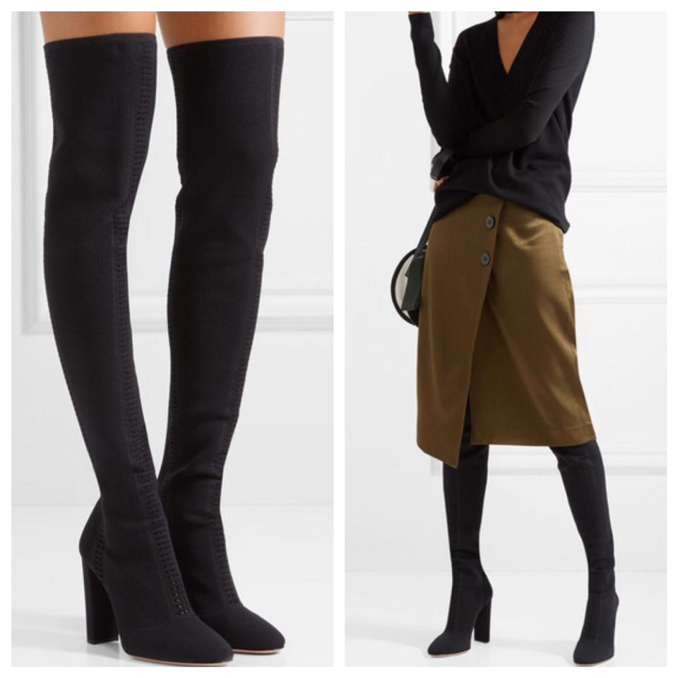 c37aa97bfe6d Gianvito Rossi Black Over The Knee Perforated Knit Stretch Boots ...