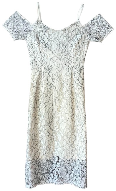 Item - White Lace Mid-length Short Casual Dress Size 0 (XS)