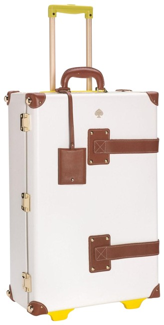 Item - New York By Stowaway Case Luggage White and Yellow Fiberboard Leather Weekend/Travel Bag
