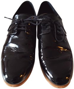 Prada Lace Patent Leather Oxford Black Flats