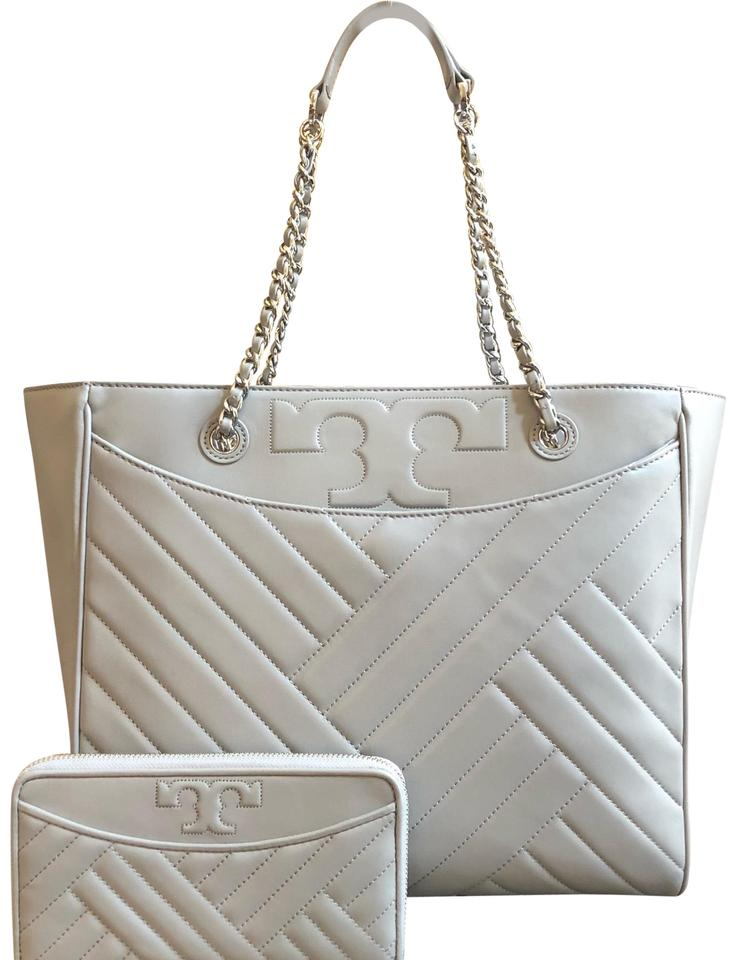 bce81b805 Tory Burch Quilted Lamb Leather Channel Large 2pcs Tote in cement (grey)  Image 0 ...