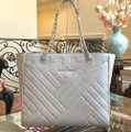 Tory Burch Quilted Lamb Leather Channel Large 2pcs Tote in cement (grey) Image 1