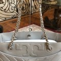 Tory Burch Quilted Lamb Leather Channel Large 2pcs Tote in cement (grey) Image 2