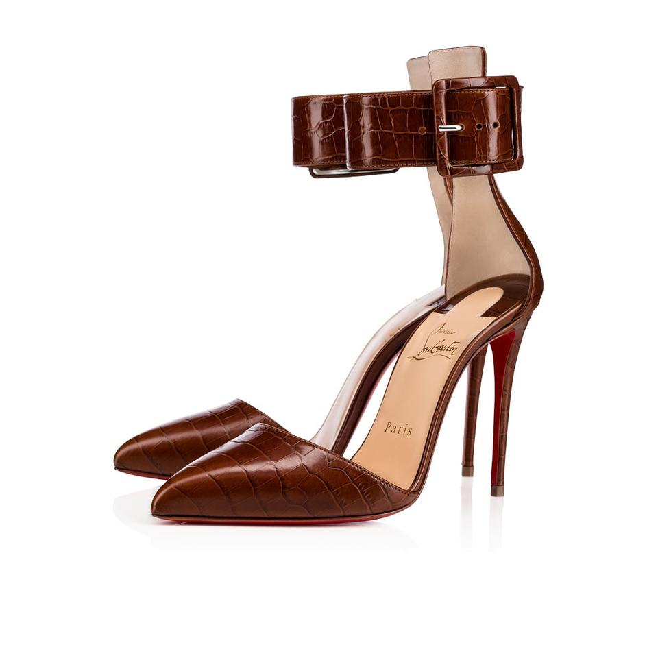 ba3b97f6c43 Christian Louboutin Brown Harler Croc Embossed Leather Ankle Cuff D orsay  Heels Sandals Pumps