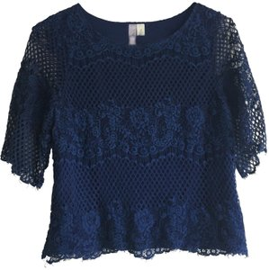 Alya Silk Top Navy Lace