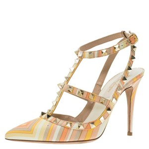 Valentino Leather Couture Print Multicolor Sandals