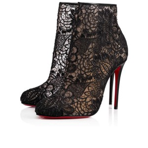 Christian Louboutin Ankle Heels Lace Black Boots