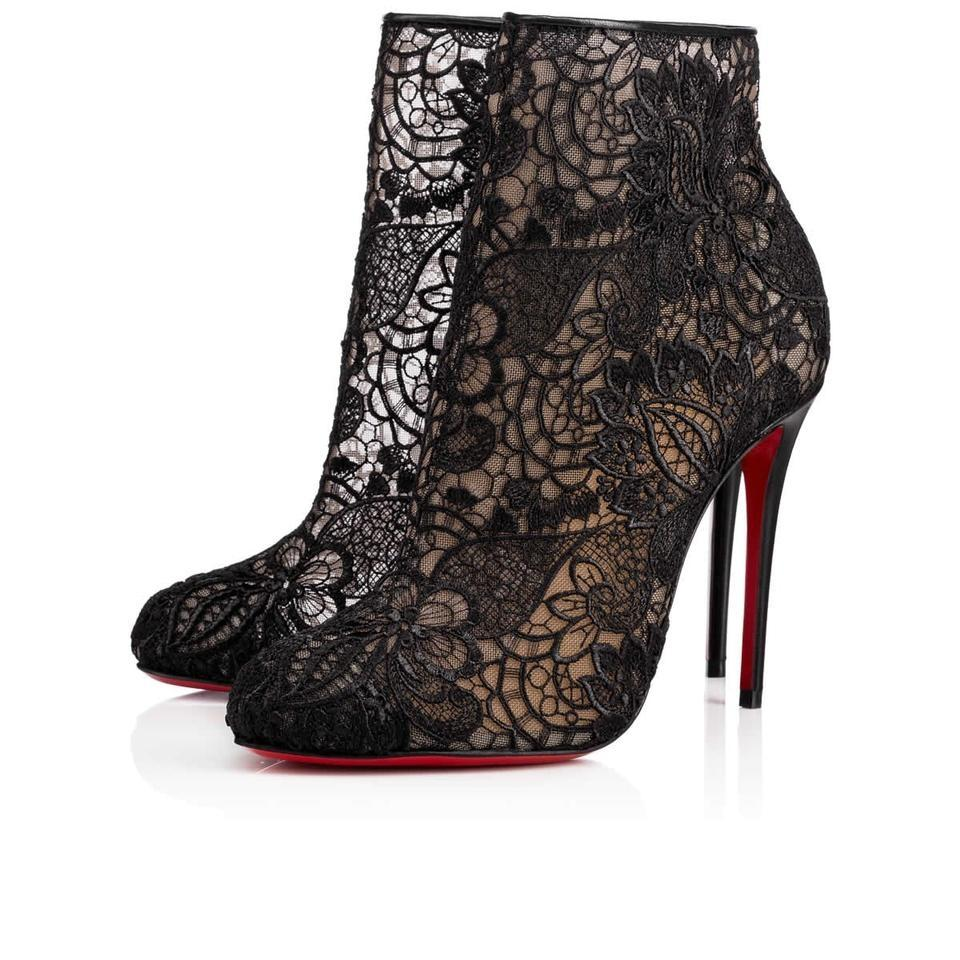 low priced c0414 19e0b Christian Louboutin Black Miss Tennis 100 Floral Lace Ankle Heels  Boots/Booties Size EU 34.5 (Approx. US 4.5) Regular (M, B) 8% off retail