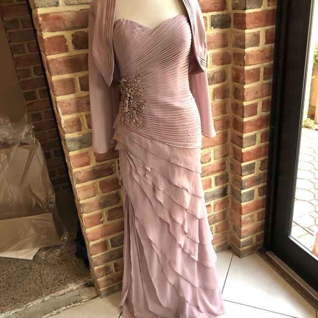 Item - Dusty Rose Chiffon 71023 Taupe Formal Bridesmaid/Mob Dress Size 6 (S)