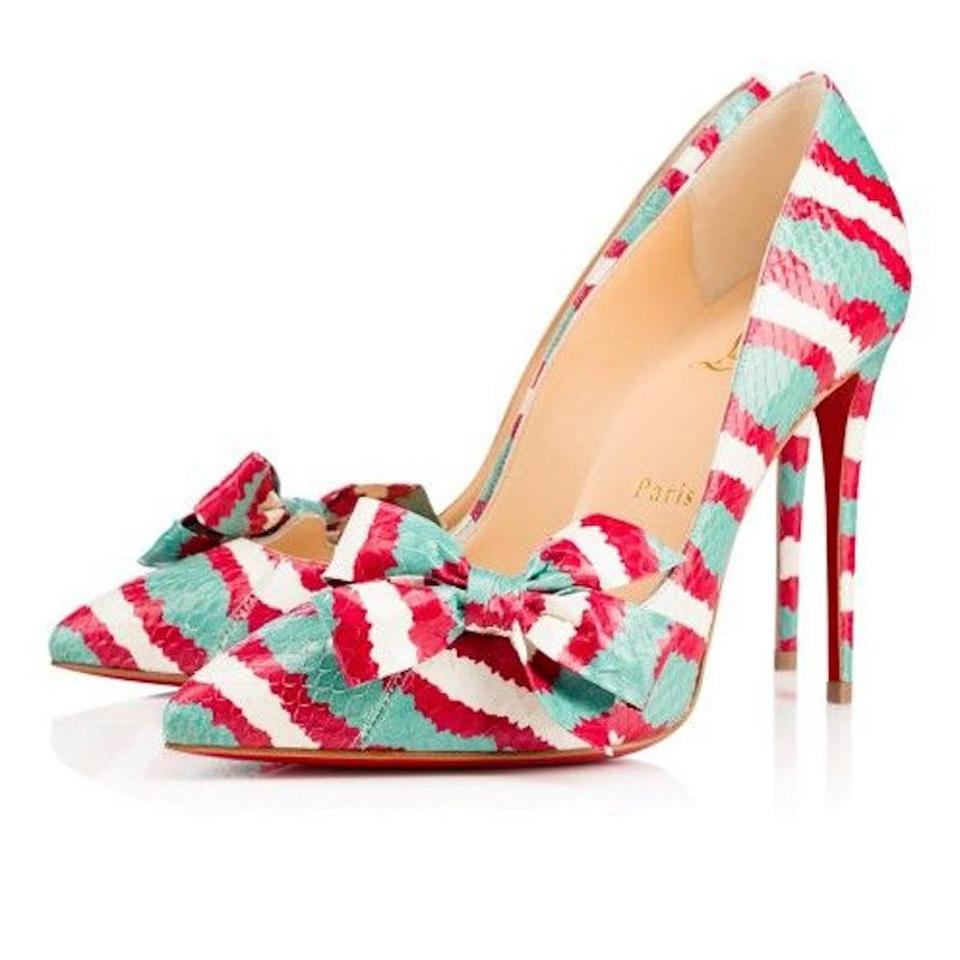 11549fdbc234 Christian Louboutin Red Madame Menodo 100 Blue White Stripe Ayers Corallo  Pigalle Heel Pumps Size EU 41.5 (Approx. US 11.5) Regular (M