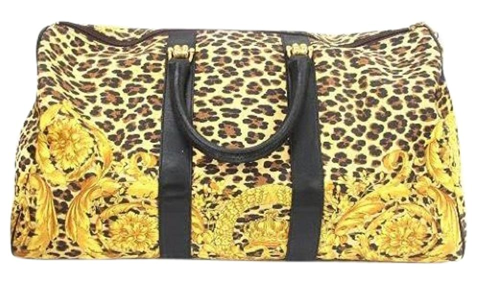c196518b70 Bag Gianni Versace Black Leather Gold Travel and Weekend Leopard Boston  a1wfz ...
