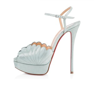 859d8f903a4 Christian Louboutin Heels Suede Botticella Platform Open Toe Everest (light  seafoam green). Sandals