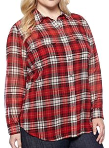 Vince Camuto Plaid Longsleeve Buttons Checkered Chiffon Button Down Shirt Red / Black / White