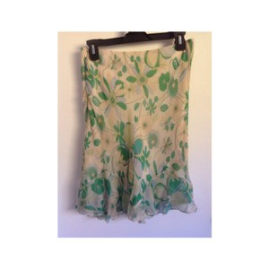 Laundry by Shelli Segal Skirt green, lime green, baby blue flowers.