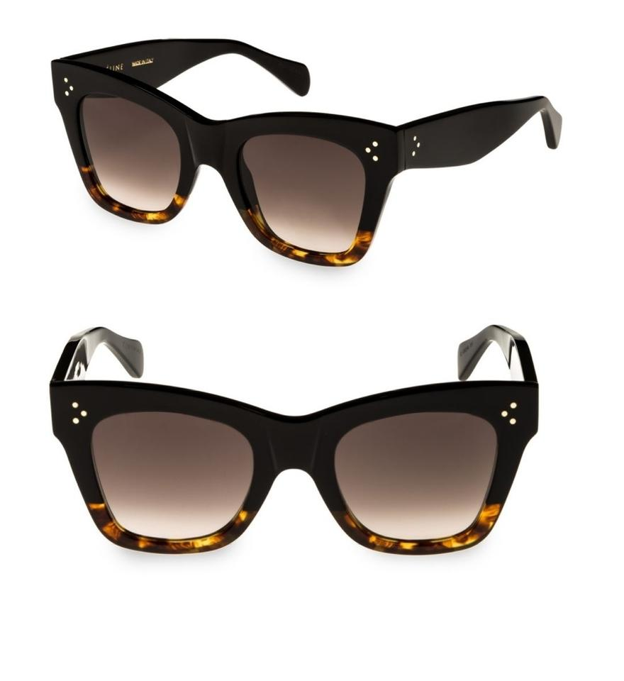1ce4c46a624 Céline NEW Havana Rectangular Cat eye Sunglasses Black brown Image 0 ...