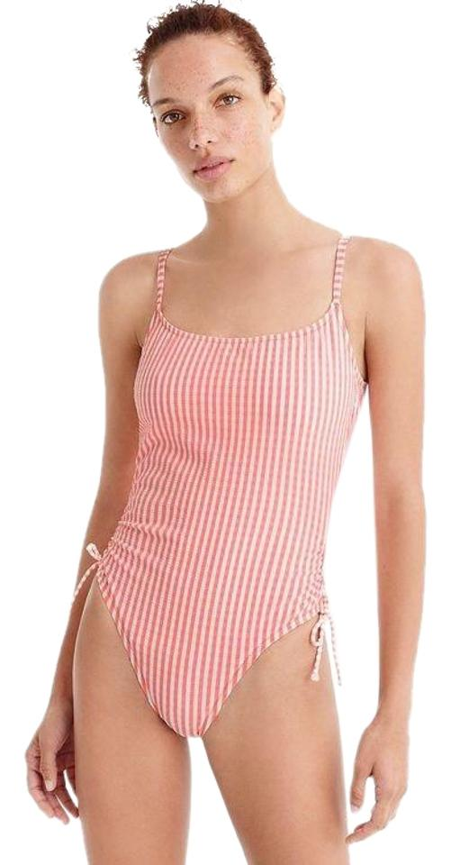 b2d5fc38cf7 J.Crew Coral Seersucker Striped Ruched Tie One-piece Bathing Suit ...