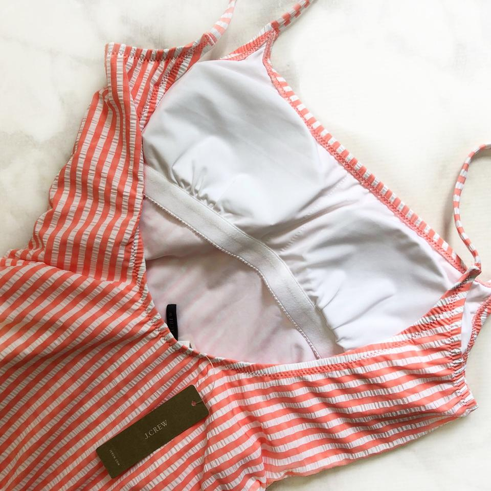 f3e35380f2d J.Crew coral Seersucker striped ruched tie one piece Image 8. 123456789