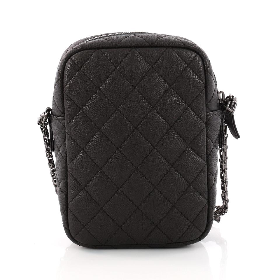 fbae9d36fcce Chanel 2.55 Reissue Camera Quilted Grained Vertical Black Leather ...