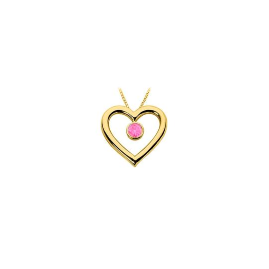 Preload https://img-static.tradesy.com/item/23774592/pink-created-sapphire-heart-pendant-18k-yellow-gold-vermeil-sterling-necklace-0-0-540-540.jpg