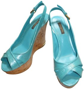 Louis Vuitton BLUE MONOGRAMMED PATENT LEATHER & TAN CORK HEELS Wedges