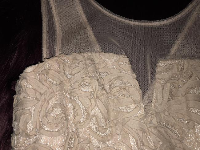 BCBGMAXAZRIA Champagne Embroidered Ribbon Wedding Dress Image 10