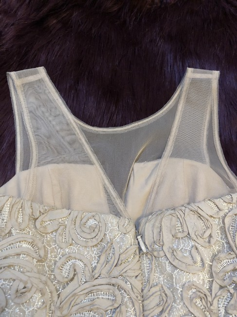 BCBGMAXAZRIA Champagne Embroidered Ribbon Wedding Dress Image 5