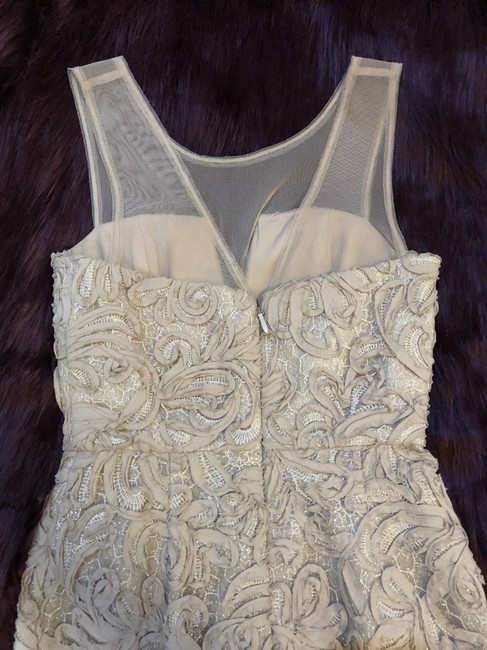 BCBGMAXAZRIA Champagne Embroidered Ribbon Wedding Dress Image 6