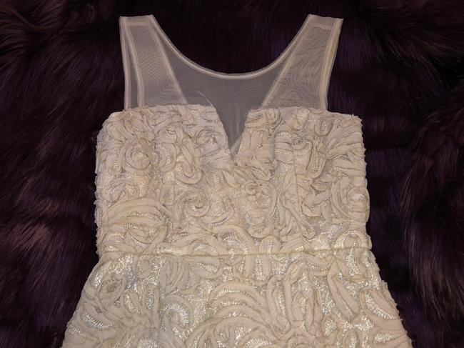 BCBGMAXAZRIA Champagne Embroidered Ribbon Wedding Dress Image 7