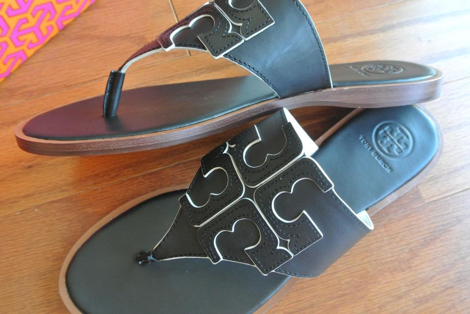 d72b13ddedd7 Tory Burch Black Jamie Black Ivory Full Logo Sandals Size US 8 Regular (M
