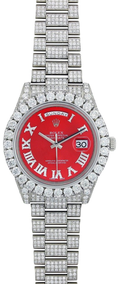 Rolex Silver And Red Iced Out Day Date Ii President White Gold 218239 Watch