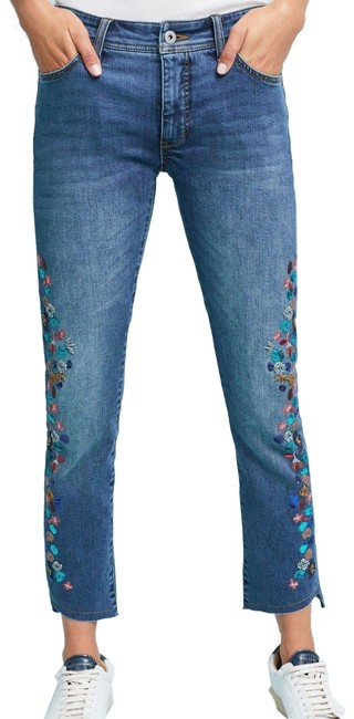 Item - Blue Pilcro Embroidered Mid-rise Slim Straight Leg Jeans Size 33 (10, M)