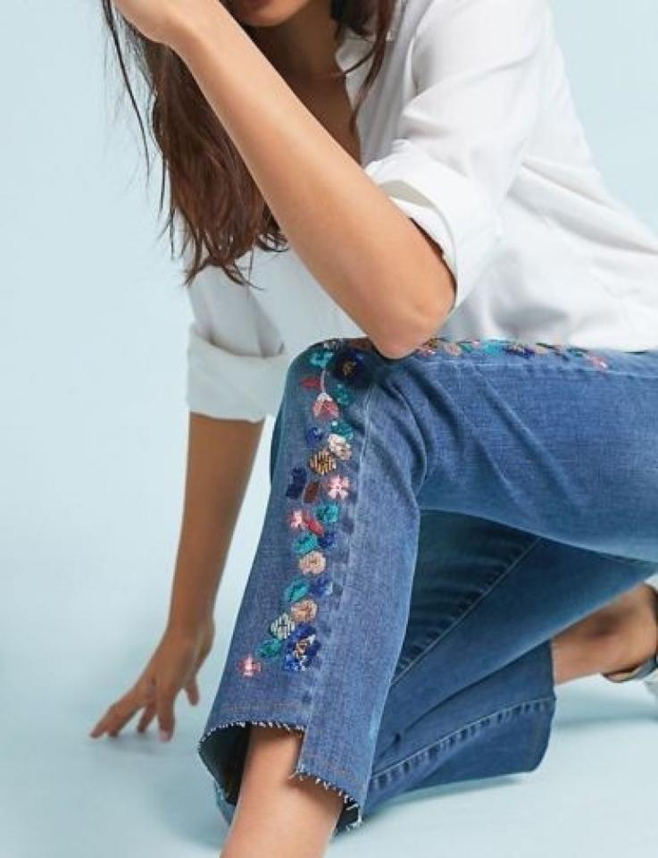 Anthropologie Blue Pilcro Embroidered Mid rise Slim Straight Leg Jeans Size 33 (10, M) 50% off retail
