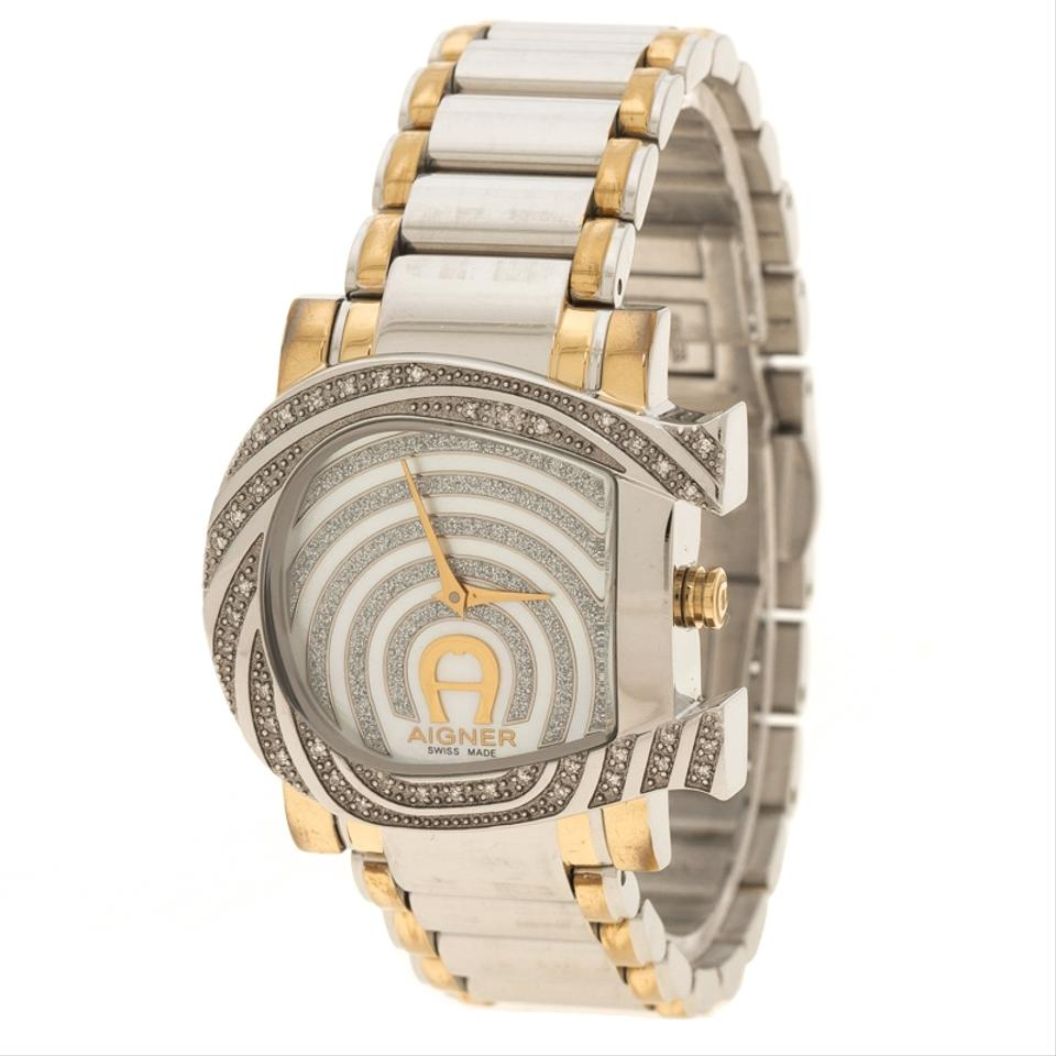 Silver White Mother Of Pearl Stainless Steel And Diamonds Genua Due Aigner Watch Women 123456