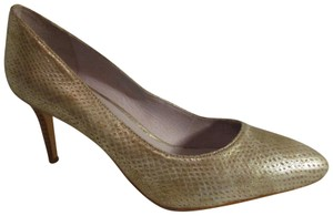 Johnston & Murphy Leather Snakeskin gold & silver metallic Pumps