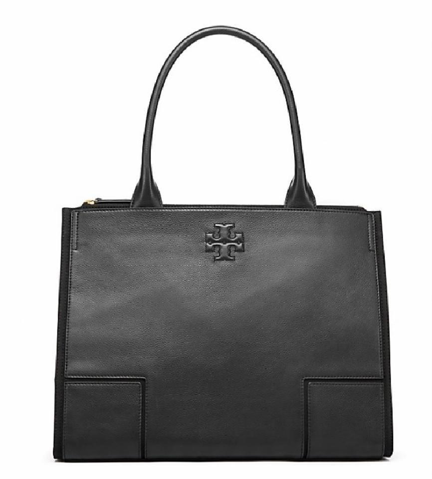 98cabe696411 Tory Burch Leather Shoulder Work Tote in black Image 11. 123456789101112