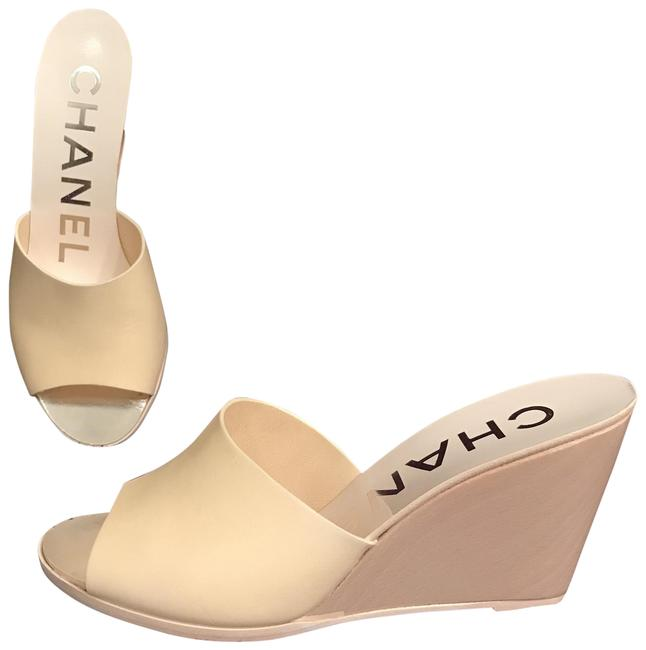 Item - Beige White Yellow Leather Wooden Heels Sandals Mules Wedges Size EU 37.5 (Approx. US 7.5) Regular (M, B)