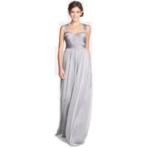Monique Lhuillier Grey Polyester Shirred Chiffon Gownmonique Feminine Bridesmaid/Mob Dress Size 16 (XL, Plus 0x)