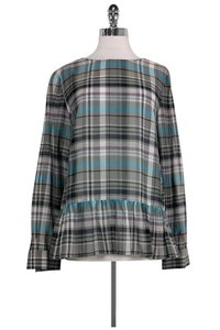 SUNO Plaid With Ruffle Hem Top