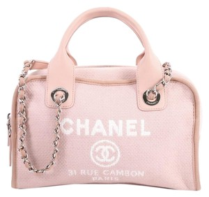 Chanel Deauville Bowling Small Pink Canvas Satchel - Tradesy 99cb303660062