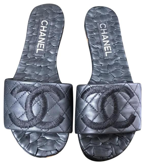Item - Black Slides Leather Quilted Flats Size EU 36.5 (Approx. US 6.5) Wide (C, D)