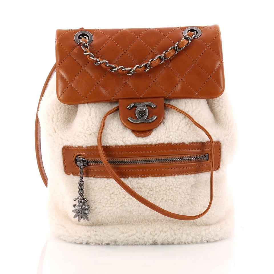 0707caff481a Chanel Mountain Shearling with Quilted Calfskin Small Brown and Off ...