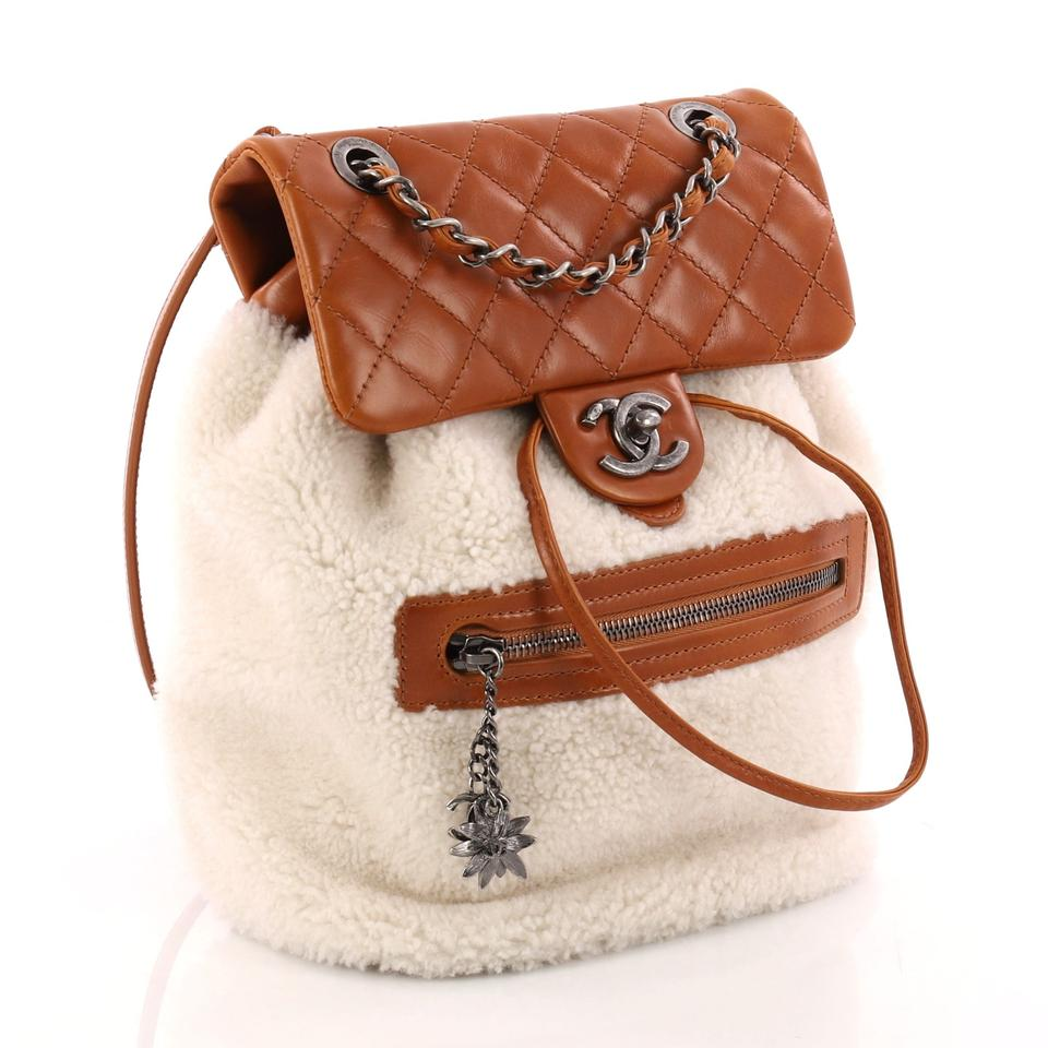 00dc8b01c9fa Chanel Mountain Shearling with Quilted Calfskin Small Brown and Off-white  Leather Backpack - Tradesy