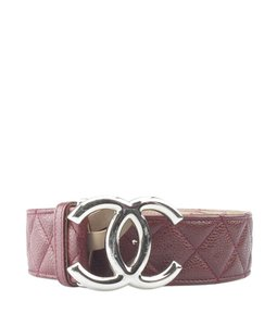 Chanel Chanel Burgundy Caviar Quilted Leather Beltx Size 90/36 (154728)