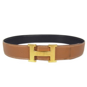 Hermès Hermes Constance Black Brown Reversible Leather H Logo Belt 68