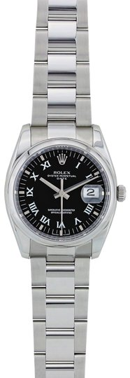 Preload https://img-static.tradesy.com/item/23776476/rolex-silver-and-black-stainless-steel-date-34mm-115200-watch-0-1-540-540.jpg