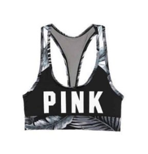 PINK VICTORIA'S SECRET PINK TROPICAL BLACK WHITE GRAY LOGO SPORTS BRA SMALL
