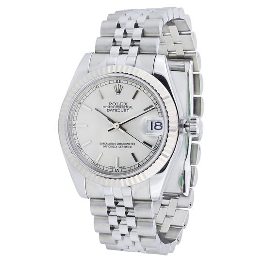 Rolex Rolex Stainless Steel Ladies Midsize Watch Jubilee Band Fluted Bezel 1 Image 1