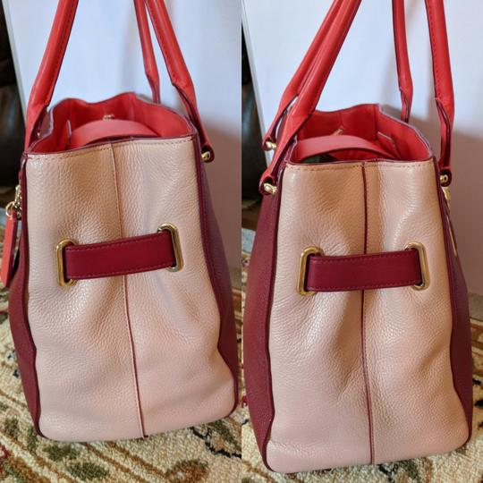Coach Satchel in Ballet Pink and Maroon Image 4