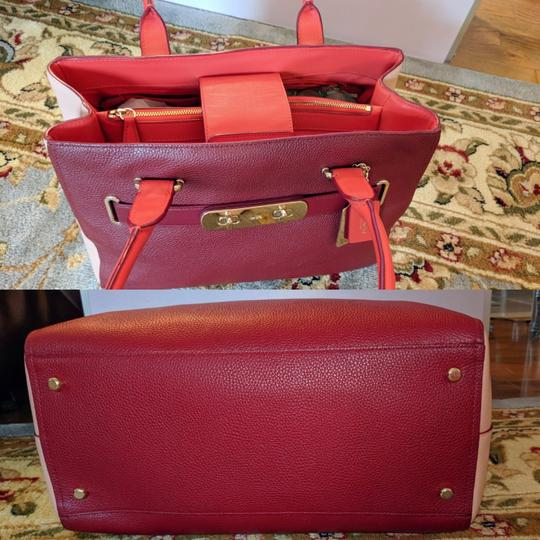 Coach Satchel in Ballet Pink and Maroon Image 7